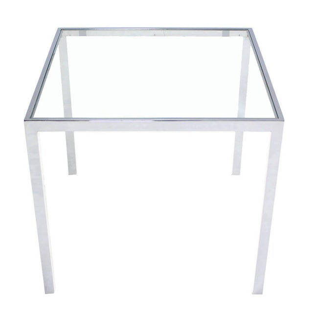 Square Chrome & Glass Side Table For Sale - Image 4 of 8