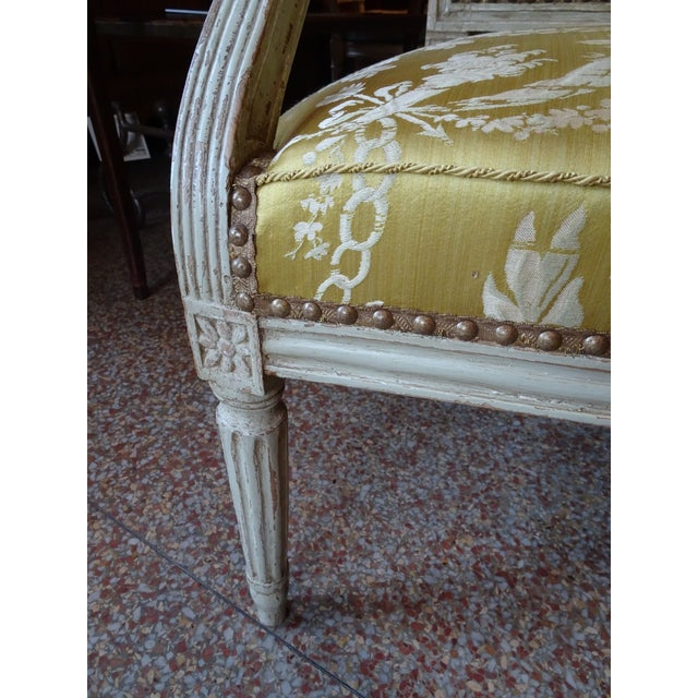 18th Century Painted Louis XVI Armchair For Sale - Image 10 of 11