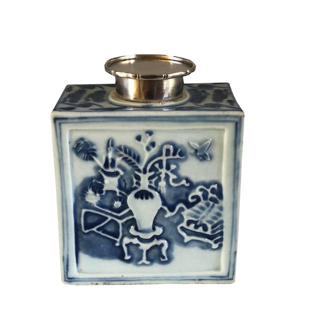 Chinese 18th Century Chinese Blue and White Tea Caddy For Sale - Image 3 of 8