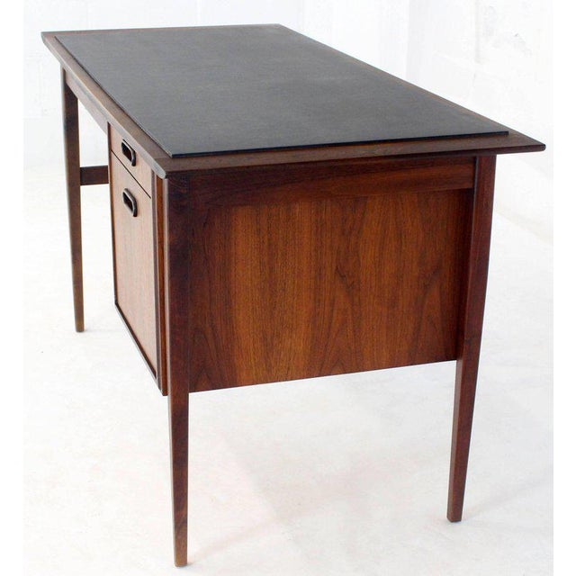 Medium Small Danish Mid-Century Modern Oiled Walnut Desk With Slate Top For Sale - Image 4 of 11