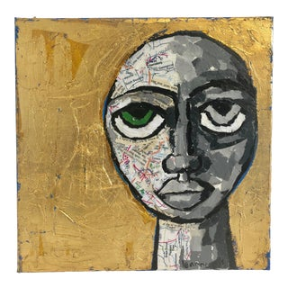 """""""The Sun Also Rises"""" Collaged Portrait With Gold Leaf and Maps For Sale"""
