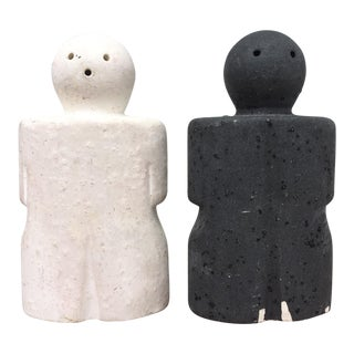 Black & White Salt & Pepper Shakers - A Pair
