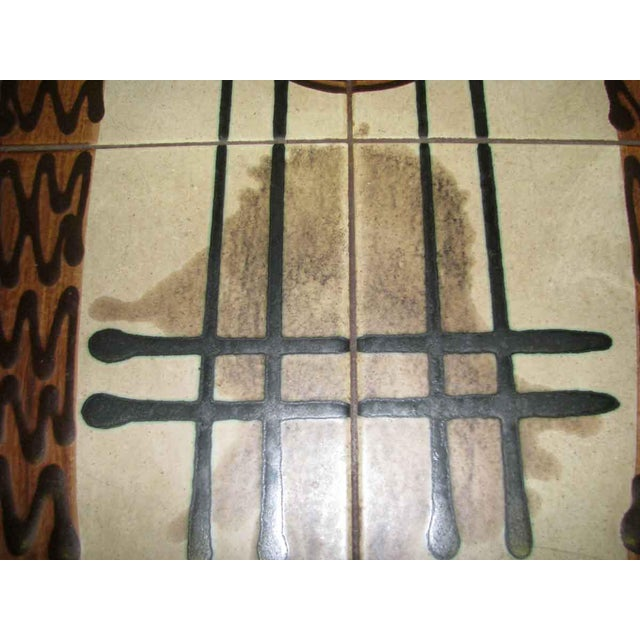 Brown Modern Wooden Coffee Table with Tile Insert For Sale - Image 8 of 10
