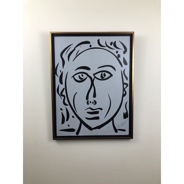 """Peter Keil 1980s Portraiture Painting, """"Bue Face"""" by Peter Keil For Sale - Image 4 of 4"""