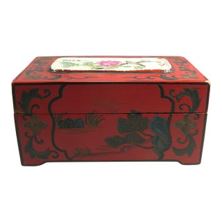 Antique Chinese Carved Red Lacquer Jewelry Box With Porcelain Inlay For Sale