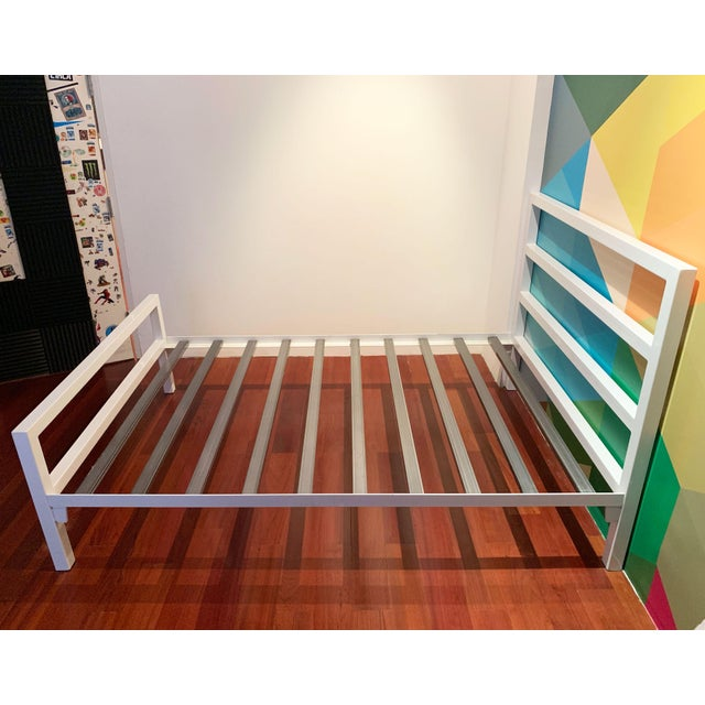 White Contemporary White Parsons Full Sized Bedframe For Sale - Image 8 of 8