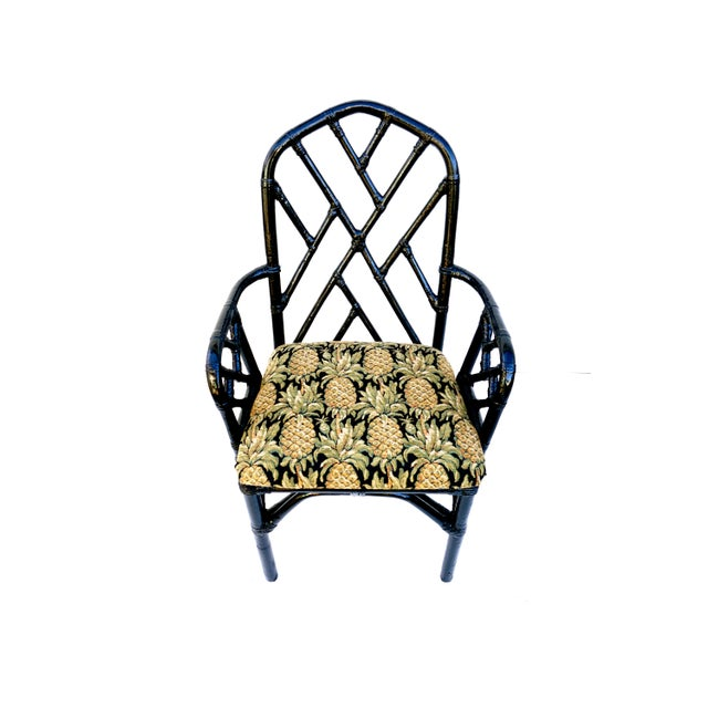 Vintage Bamboo Chippendale Arm Chairs - A Pair For Sale In Los Angeles - Image 6 of 12