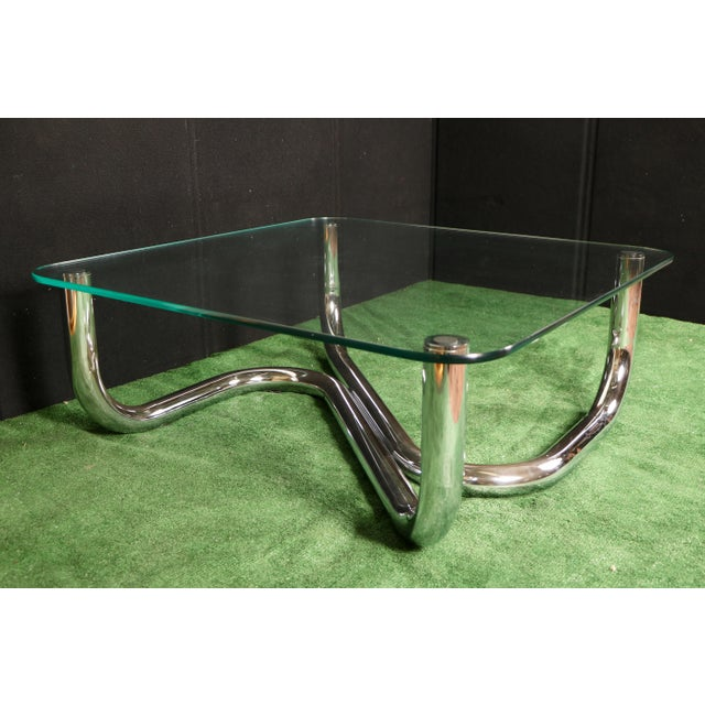 Modern Chrome Tubular Coffee Table - Image 4 of 11