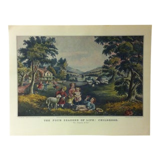 "Currier & Ives American Print, ""The Four Seasons of Life - Childhood"" by Crown Publishers, Circa 1950 For Sale"