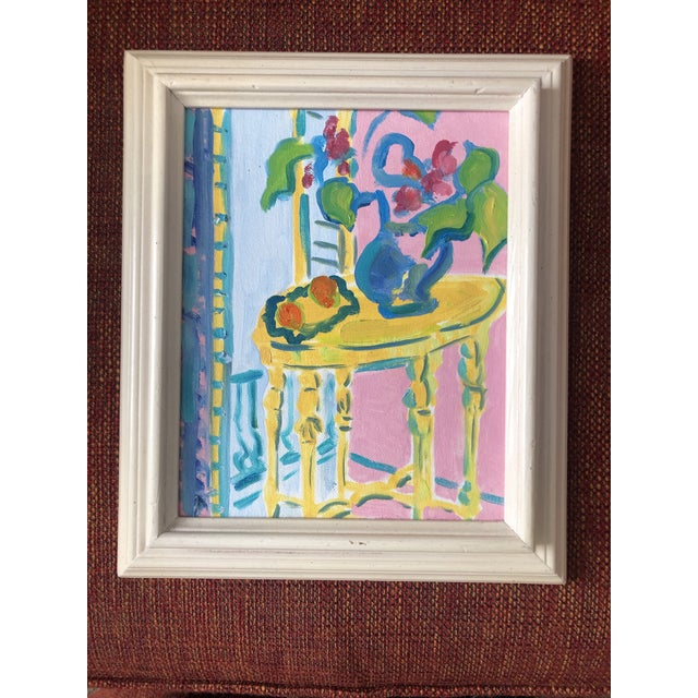 The Yellow Table Impressionist Painting 1990s For Sale - Image 9 of 9