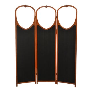 Antique English Satinwood Three Panel Screen