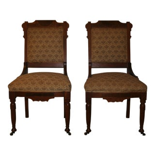 Carved Wood Accent Chairs - A Pair For Sale