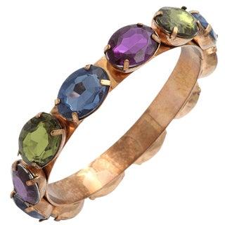 Multicolored Stone Bangle Bracelet For Sale