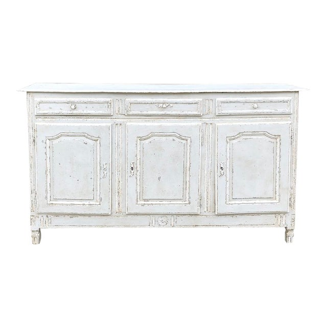 18th Century Country French Louis XVI Painted Buffet For Sale