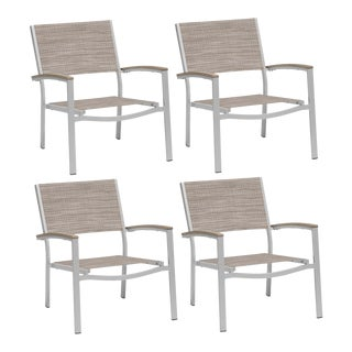 Outdoor Sling Lounge Chair, Vintage and Beige (Set of 4) For Sale