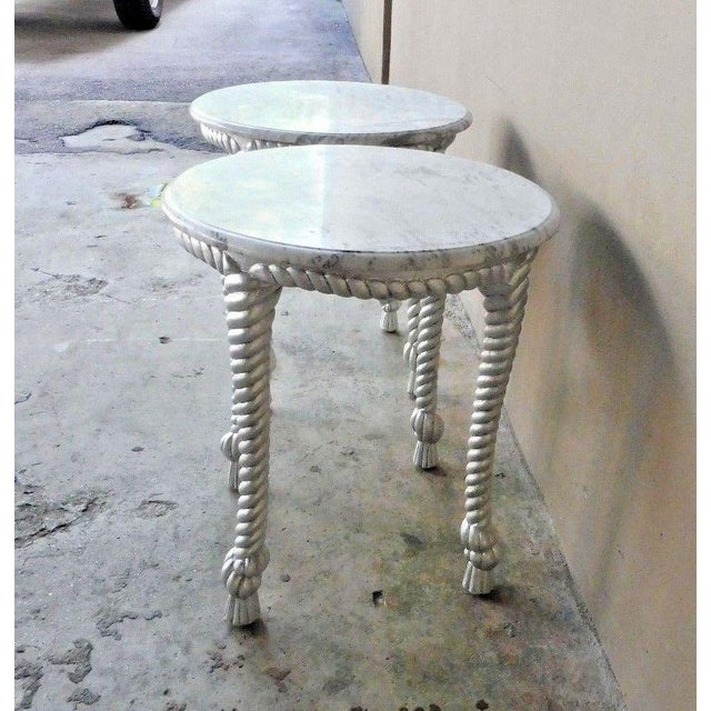 Marble 1970s Vintage Hollywood Regency Style Marble Topped Tables - a Pair For Sale - Image 7 of 9