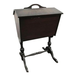 1920s Mahogany Flip Top Bin Sewing & Knitting Chest on Stand For Sale
