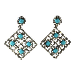 Kenneth Jay Lane Large Turquoise Blue Clear Rhinestone Earrings k.j.l. Vintage For Sale