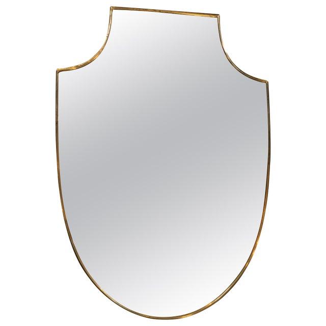 1960s Midcentury Italian Shield Shape Mirror, 1960s For Sale - Image 5 of 5