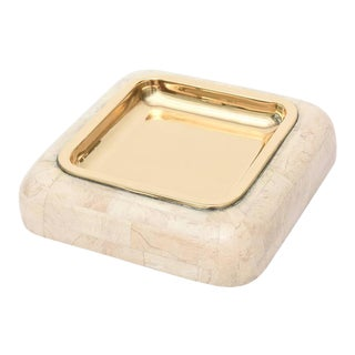 Maitland-Smith Tessellated Stone and Polished Brass Large Bowl For Sale