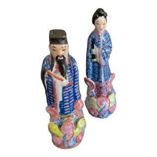 Chinese Porcelain Famille Rose Republic Period Figurines - a Pair For Sale