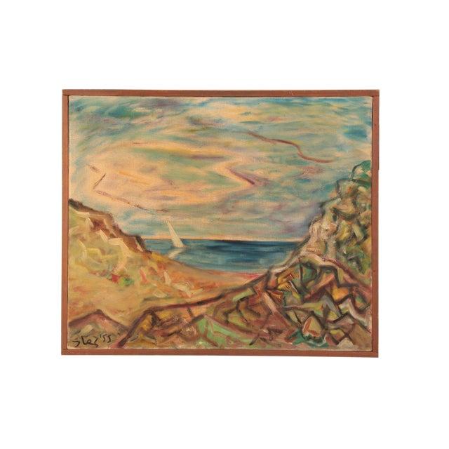 Steven Sles Oil on Linen Painting Circa 1955 For Sale