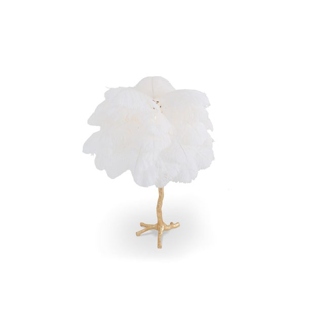 Gold Gold Palm Tree Lamp With White Feathers For Sale - Image 8 of 9