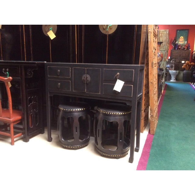 Chinese Oriental Rustic Black Lacquer Drawers Side Table For Sale - Image 9 of 10