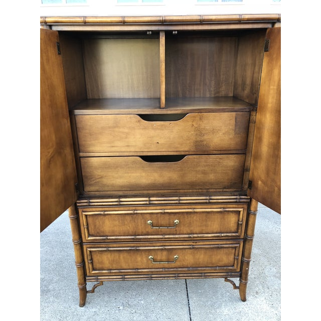 Vintage Dixie Faux Bamboo Tahiti Armoire For Sale - Image 6 of 9