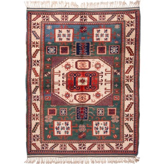 Red & Green Geometric Medallion Wool Rug - 4′10″ × 6′9″ For Sale