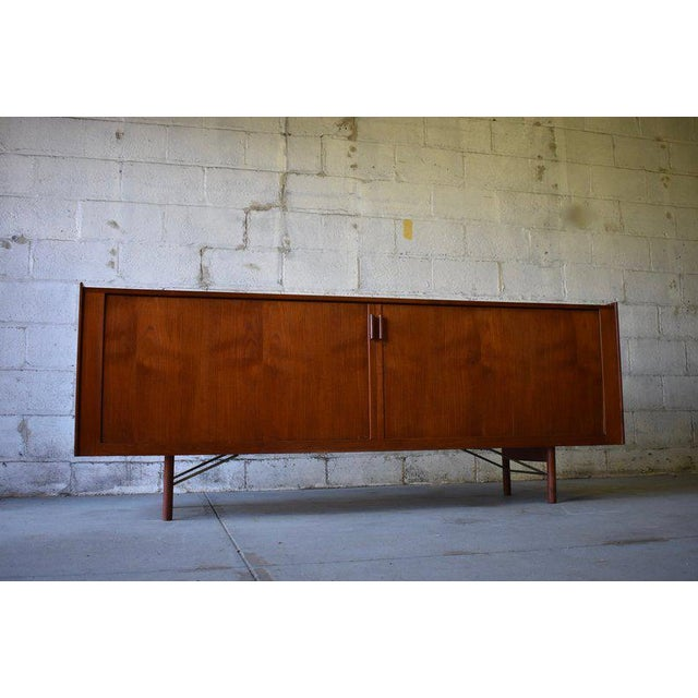 Jaw-dropping Mid Century Modern Danish tambour door credenza / media stand by Ib Kofod-Larsen imported by Povl Dinesen....