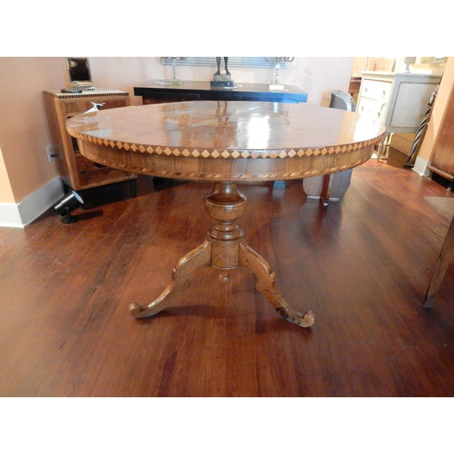 19th C. Italian Inlaid Walnut Center Hall Table For Sale In New Orleans - Image 6 of 7