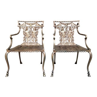 Vintage Mid Century Romanesque Garden Chairs- a Pair For Sale