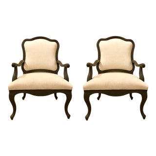 Transitional Dark Gray Carved Wood Arm Chairs Pair For Sale