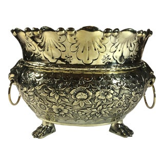 Antique Dutch Brass Repousse Jardiniere With High Sides, Circa 1860. For Sale