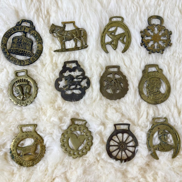 Brass Antique Horse Brass Christmas Ornaments - Set of 12 For Sale - Image 8 of 8