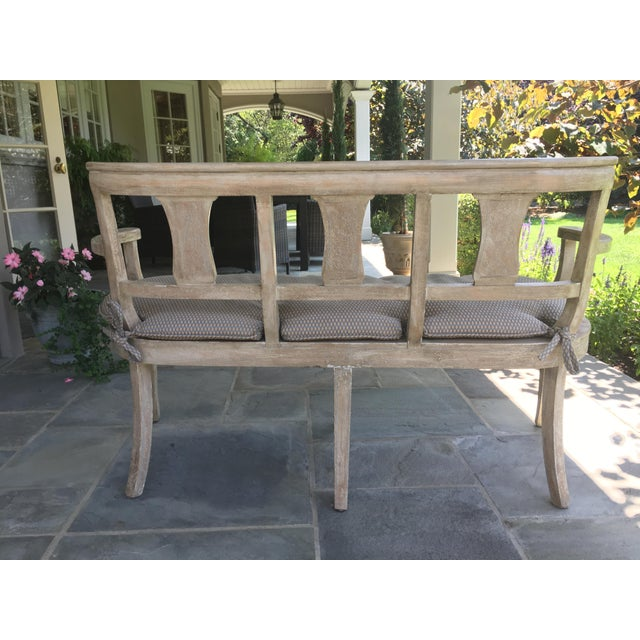 Vintage French Washed Finish Bench - Image 2 of 3