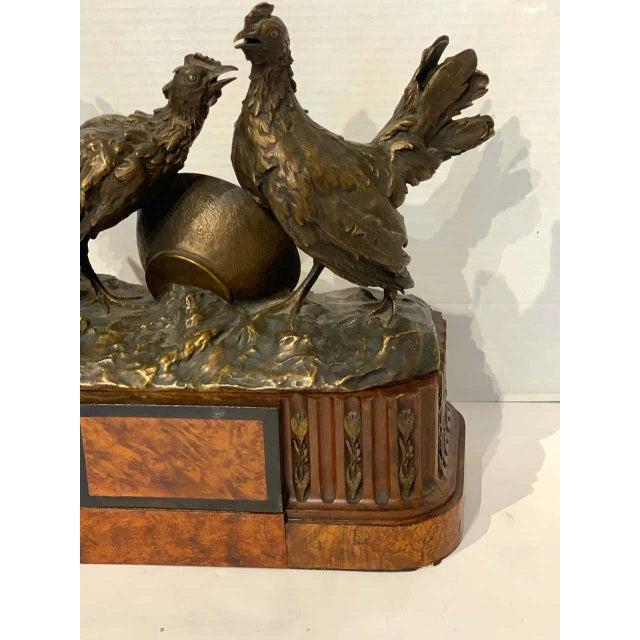 Metal Belle Epoque French Bronze of Game Hen With Pedestal For Sale - Image 7 of 13