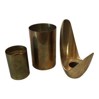 Set of 3 Mid-Century Modern Brass Candlesticks For Sale