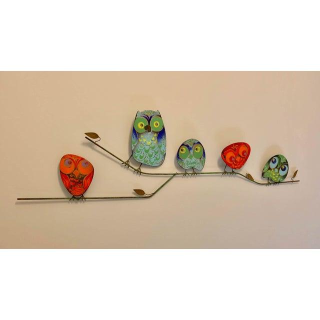 Traditional 1960s Vintage Curtis Jere Metal Owl Family Signed Enamel Sculpture For Sale - Image 3 of 3