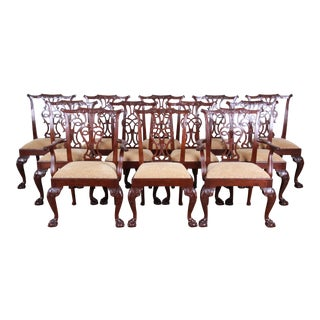 Baker Furniture Stately Homes Chippendale Carved Mahogany Dining Chairs, Set of Twelve For Sale