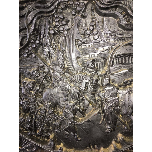 Large Antique Hand Carved Black Lacquer Plaque For Sale - Image 4 of 7