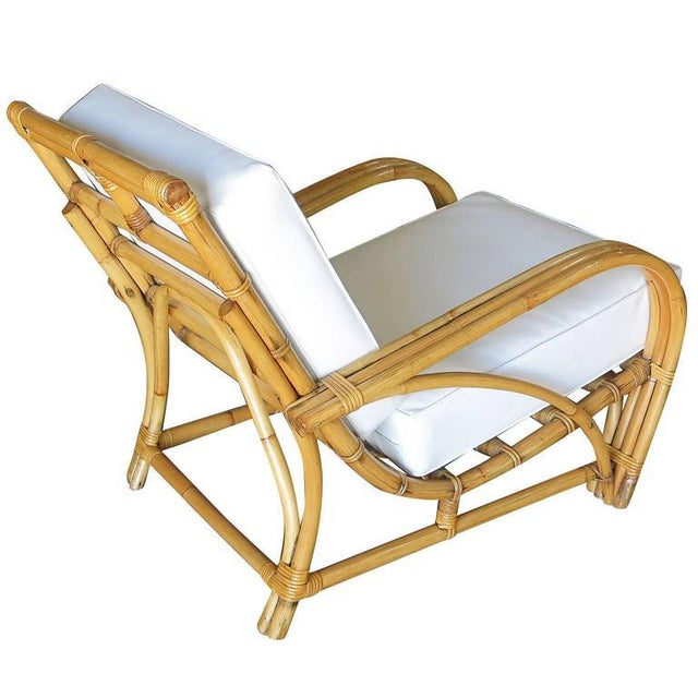 """1940s Restored Three-Strand """"1940s Transition"""" Rattan Lounge Chair For Sale - Image 5 of 5"""