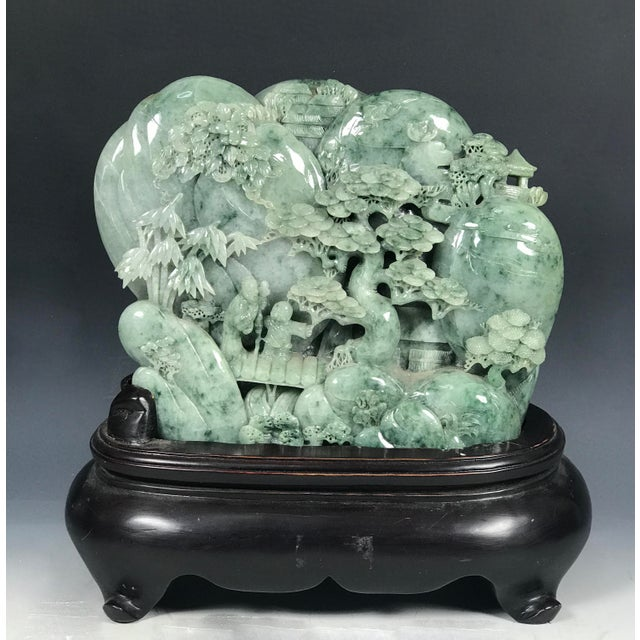 Chinese Art Carved Green Jade Mountain With People - Image 2 of 11