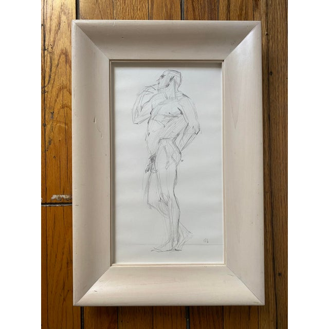 Paper Vintage Nude Figure, Graphite on Paper, Signed Sfb For Sale - Image 7 of 7