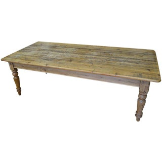 Late 19th Century Farm Table From Pine With Balustrade Legs For Sale