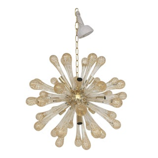 Sputnik Gold and Transparent Murano Glass Chandelier