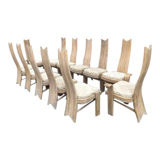 McGuire Style Rattan High Back Dining Chairs - Set of 12 For Sale