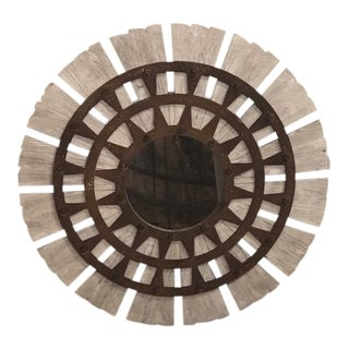 Rustic Reclaimed Wood and Metal Mirror For Sale