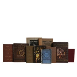 Antique World Art Book Set in Chocolate & Wine, S/12 For Sale